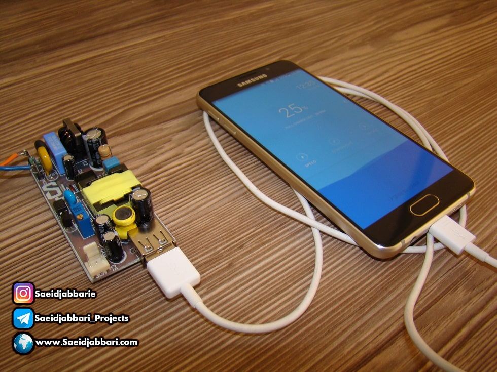 طراحی و ساخت شارژر موبایل 5 ولت 2 آمپر برای گوشهای هوشمند